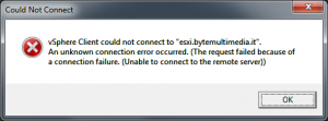 vSphere Client could not connect to