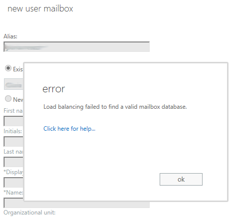Load balancing failed to find a valid mailbox database