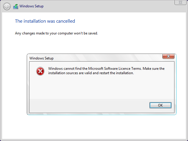 Windows cannot find the Microsoft Software Licence Terms