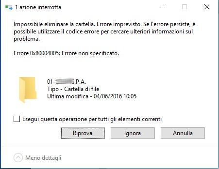 Errore 0x80004005